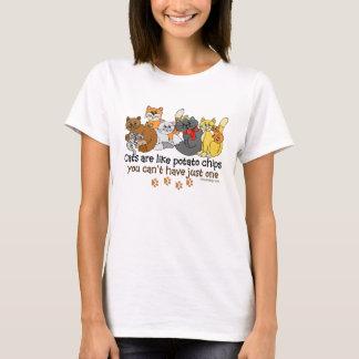 Camiseta Os gatos são como microplaquetas de batata