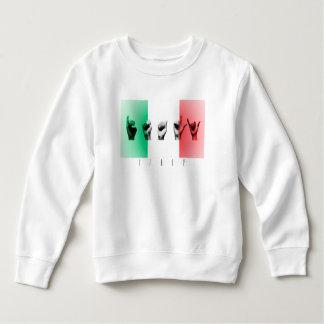 Camiseta Palavra Italia sobre a bandeira italiana