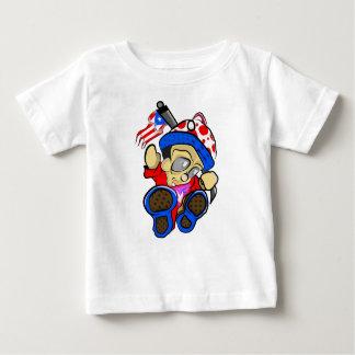 Camiseta Para Bebê Caráter bonito de Puerto Rico com bandeira