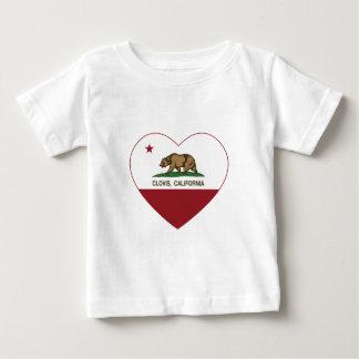 Camiseta Para Bebê coração de clovis da bandeira de Califórnia