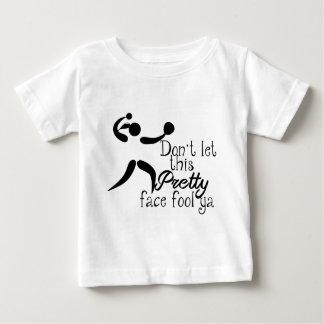 Camiseta Para Bebê Dizer bonito do softball da cara