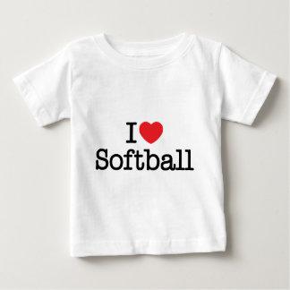 Camiseta Para Bebê Eu amo o softball