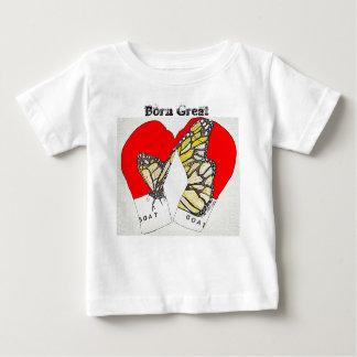 Camiseta Para Bebê Excelente nascido com as luvas de encaixotamento