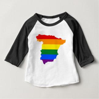 Camiseta Para Bebê Mapa da bandeira da espanha LGBT