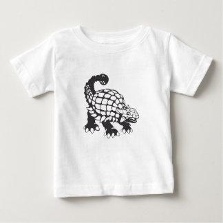 Camiseta Para Bebê Preto e branco pré-histórico do dinossauro do