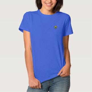 Camiseta Polo Bordada Feminina Camisa bordada flor de lis das senhoras