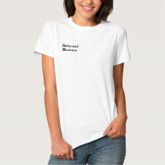 Camiseta Polo Bordada Feminina T-shirt natural da mulher