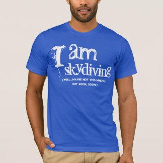 Camiseta Presente engraçado da mordaça eu skydiving o azul