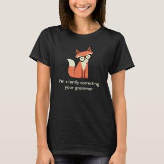 Camiseta Preto da gramática do Fox do hipster