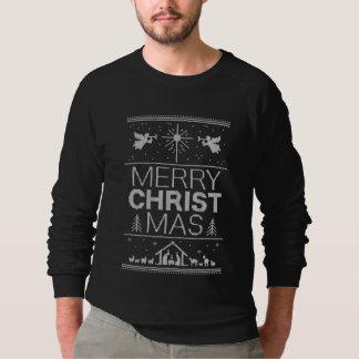 Camiseta Preto religioso da camisola feia do Feliz Natal
