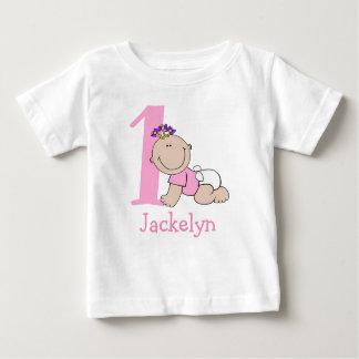Camiseta Primeiro aniversario bonito do bebé dos desenhos