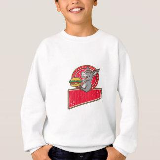 Camiseta Retângulo do hamburguer do saque da mascote do