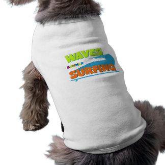 Camiseta Roupa surfando do animal de estimação da