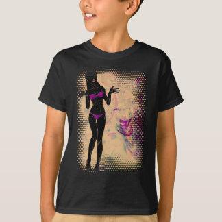 Camiseta Silhueta violeta 2 da menina do biquini do Grunge