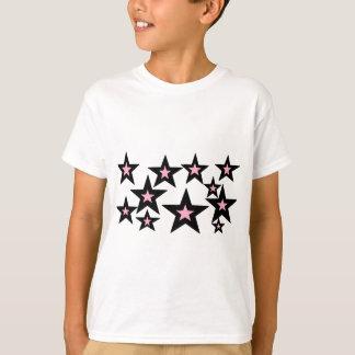 Camiseta stars.jpg cor-de-rosa e preto