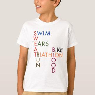 Camiseta Suor e rasgos do sangue do Triathlon