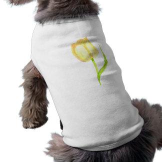 Camiseta T amarelo do cão da tulipa