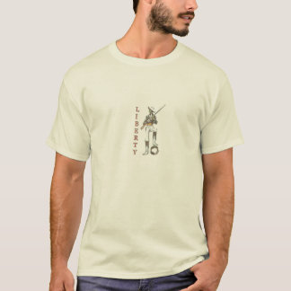 Camiseta T da liberdade com o guardião do vintage da
