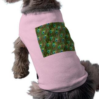 Camiseta Teste padrão verde & azul da pena do pavão