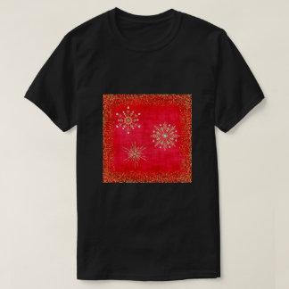 Camiseta Vermelho dos flocos de neve do Natal & brilho do