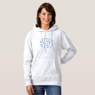 Camisetas A camisola encapuçado das mulheres azuis das