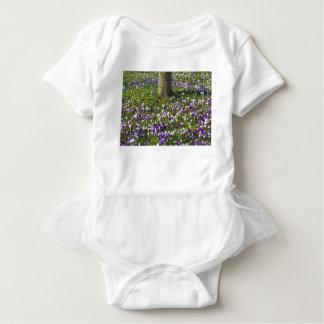 Camisetas Açafrões do campo de flores na grama do primavera