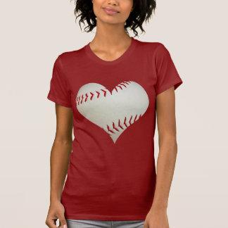 Camisetas Basebol americano em uma forma do coração