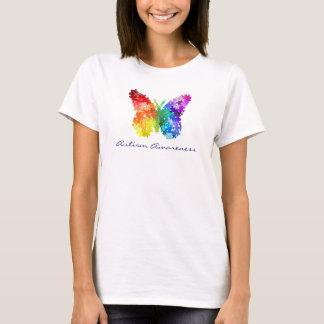 Camisetas Borboleta do quebra-cabeça do arco-íris da