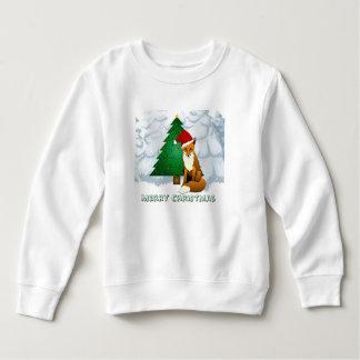 Camisetas Camisola bonito do velo do Fox do Natal