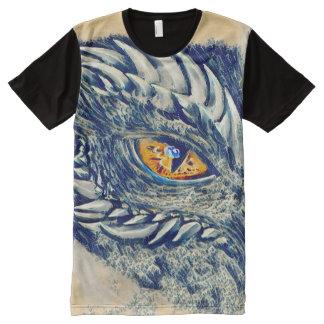 Camisetas Com Impressão Frontal Completa Arte chinesa antiga da fantasia do dragão de água