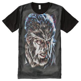 Camisetas Com Impressão Frontal Completa Arte escura clássica da fantasia do horror de
