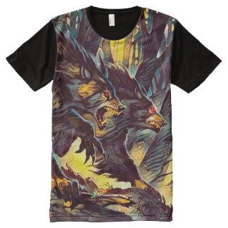 Camisetas Com Impressão Frontal Completa Arte escura da fantasia do horror do homem-lobo