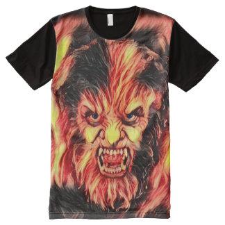 Camisetas Com Impressão Frontal Completa Arte escura de queimadura da fantasia do horror de