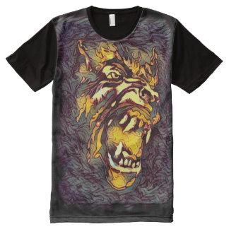 Camisetas Com Impressão Frontal Completa Arte escura do horror da cara clássica do