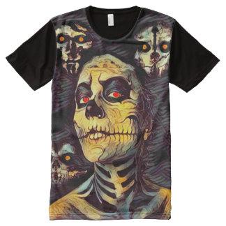 Camisetas Com Impressão Frontal Completa Arte escura do horror da morte eterno assustador