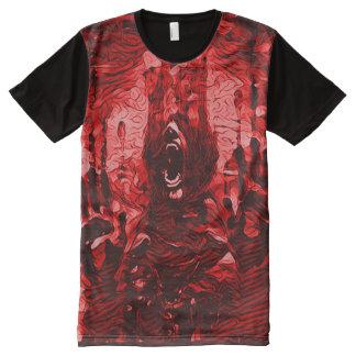Camisetas Com Impressão Frontal Completa Arte escura do horror da morte sangrenta
