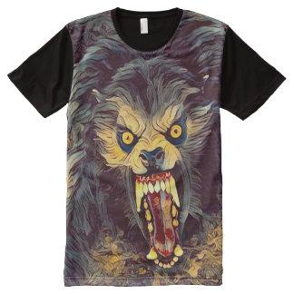 Camisetas Com Impressão Frontal Completa Arte escura do horror do homem-lobo americano