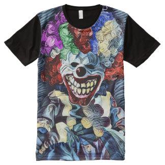 Camisetas Com Impressão Frontal Completa Arte escura do horror do palhaço assustador do