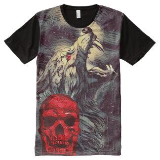 Camisetas Com Impressão Frontal Completa Arte escura do horror do uivo assustador do crânio