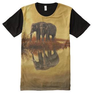 Camisetas Com Impressão Frontal Completa Por do sol dos elefantes