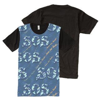 Camisetas Com Impressão Frontal Completa S.O.S. Economias do ~ nossa mensagem aquática dos