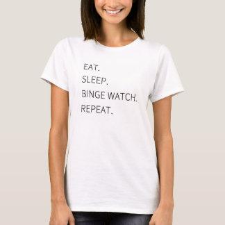 """Camisetas """"Coma. Sono. Relógio do frenesi. Repetição. """""""