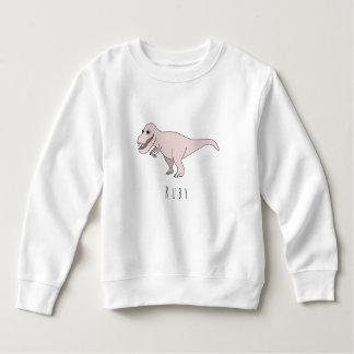 Camisetas Dinossauro de T-Rex do Doodle do rosa da menina da