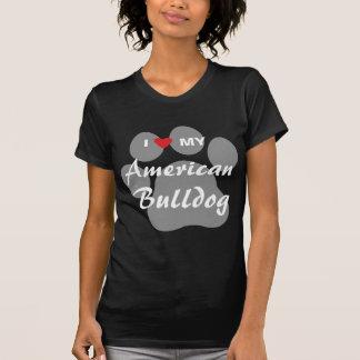 Camisetas Eu amo (coração) meu buldogue americano