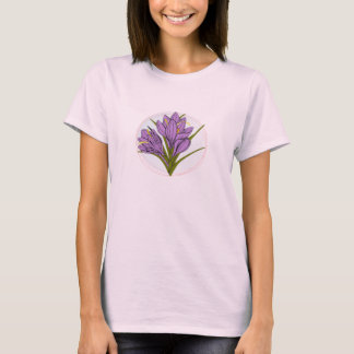 Camisetas ilustração cor-de-rosa roxa da flor do açafrão