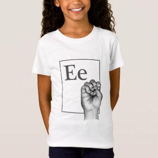 Camisetas Linguagem gestual, Fingerspell, letra E no lápis