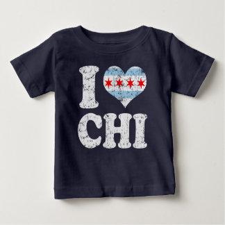 Camisetas Mim QUI da bandeira de Chicago do coração