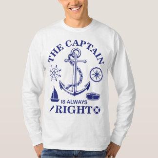 Camisetas O capitão é sempre - capitão Engraçado - marinho