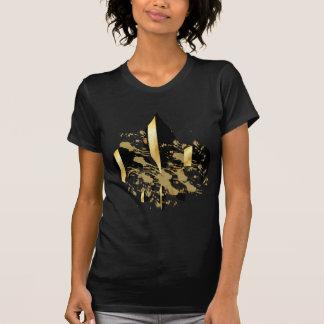 Camisetas Preto e flor de lis do ouro