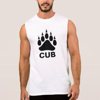 Camisetas Sem Manga Urso alegre Cub do símbolo da pata de urso preto